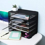 EasyPAG 5 Tier Desk File Organizer Mailroom Mail Sorter Paper Letter Trays