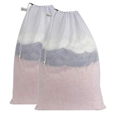 """YEELEE Durable White Mesh Laundry Bag Drawstring Closure, Machine Washable Heavy Duty Clothes Collect Large Bag for College, Travel, Dorm, Apartment 24""""x36""""(2 Pack)"""