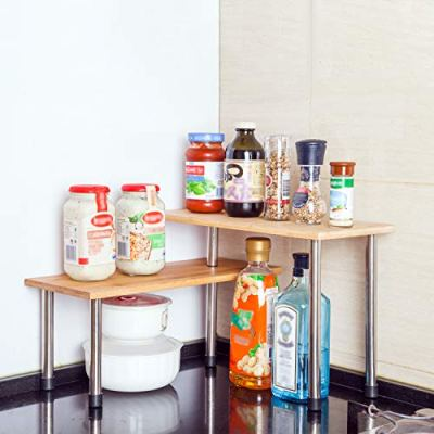 SooMe Corner Shelf Rack Kitchen Counter Top Cabinet Organizer 2 Tier