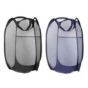 XJSW Laundry Hamper Foldable Pop-Up Mesh Popup Laundry Basket with Reinforced Carry Handles Collapsible for Storage and Easy to Open Great for The Kids Room, College Dorm or Travel (Black and Blue)