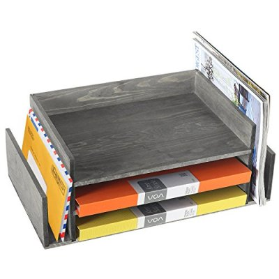 Weathered Gray Wood 3-Tier Office Desktop Document Tray & Mail Sorter
