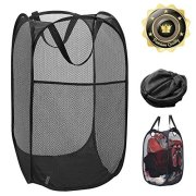 Pop-up Laundry Hamper Laundry Basket Bag with Side Pocket Mesh Clothes Handles Home Organize and Storage Sorter (Black)