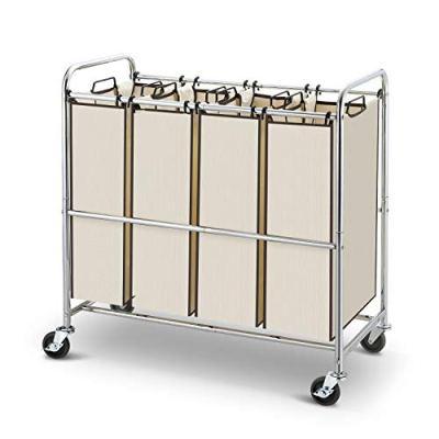 Simple Trending Heavy Duty 4-Bag Laundry Hamper Sorter Cart with Rolling Wheels, Chrome