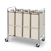 Simple Trending Heavy Duty 4-Bag Laundry Hamper Sorter Cart with Rolling Wheels, Chrome