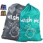 "Unicité 2Pack Large Travel Laundry Bag(36""X25"") Cute Durable Storage Bag with Drawstring Cord Lock Closure for College Dorm, Travel, Home Storage(Elephant,2 Color)"