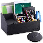 Sunewlx Desk Organizer, Handmade Premium Leather Desktop Organizer/Bedside