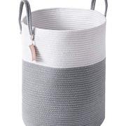 YOUDENOVA 58L Large Woven Laundry Hamper Basket, 15Dx20H Tall Decorative