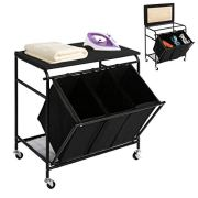 HollyHOME Laundry Sorter Cart Ironing Board with Side Pull 3-Bag Heavy-Duty Laundry Hamper 4 Wheels Black