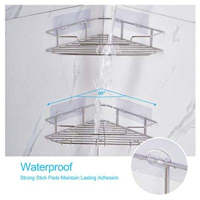 AmazerBath Adhesive Bathroom Corner Shower Shelf Corner Shower Caddy