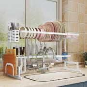 """Over Sink(33"""") Dish Drying Rack, 2 Cutlery Holders Drainer Shelf for Kitchen Supplies Storage Counter Organizer Stainless Steel Display- Kitchen Space Save Must Have (White, For Sink ≤ 33.5inch)"""