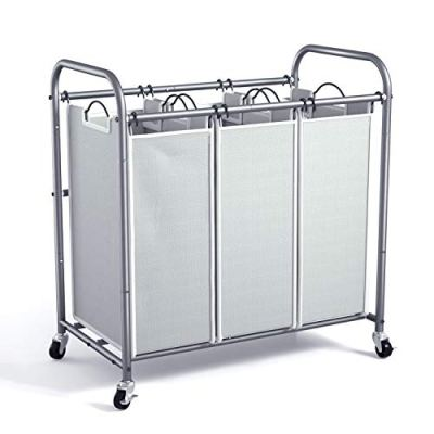 ROMOON Laundry Sorter, 3 Bag Laundry Hamper Sorter with Rolling Heavy Duty Casters, Laundry Organizer Cart for Clothes Storage, Gray