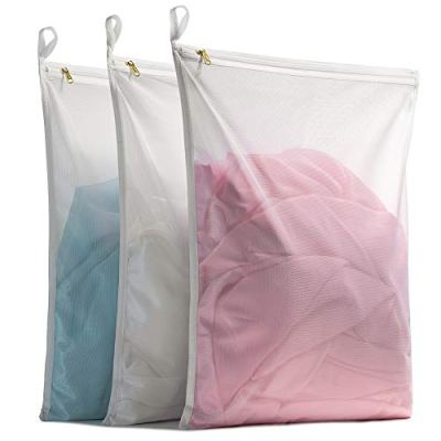TENRAI Delicates Laundry Bags, Bra Fine Mesh Wash Bag for Underwear, Lingerie, Bra, Pantyhose, Socks, Use YKK Zipper, Have Hanger Loops, (White, 3 Large, QS)