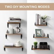 Veken Floating Shelves Wall Mounted Set of 3, Rustic Wood Wall Decor Storage