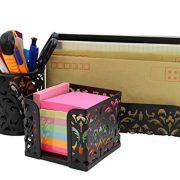EasyPAG Metal 3 in 1 Desk Organizer Set - Letter Sorter, Pen Holder and Sticky Notes