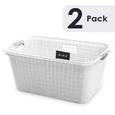 BINO Woven Plastic Laundry Hamper Storage Basket (White)