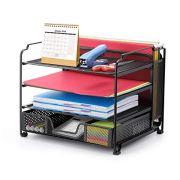 Simple Trending 4-Trays Mesh Office Supplies Desk Organizer, Desktop File Holder