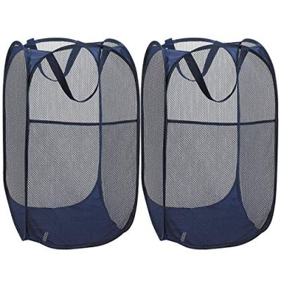 TCHH-DayUp Mesh Popup Laundry Hamper Portable, Durable Handles, Foldable, Collapsible for Storage Side Pocket Enlarged Opening, 2-Pack Blue