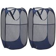 TCHH-DayUp Mesh Popup Laundry Hamper Portable, Durable Handles, Foldable, Collapsible for Storage Side Pocket|Enlarged Opening, 2-Pack Blue