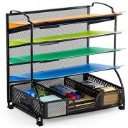 Bextsware 5-Tier Mesh Desktop Organizer File Folder with Sorters Basket