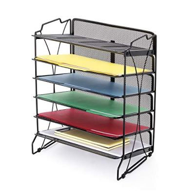 CAXXA Stackable 6 Mesh Tray Desktop Organizer Document Letter Paper File