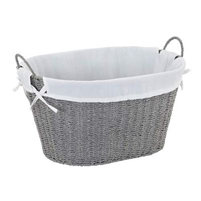 Household Essentials ML-7267 Decorative Wicker Laundry Basket with Handles and Removable Liner | Grey