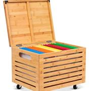 BirdRock Home Bamboo Rolling File Storage Organizer Box with Lid