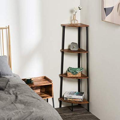Itaar 4-Tier Corner Shelf, Industrial Corner Bookshelf, Corner Storage Rack