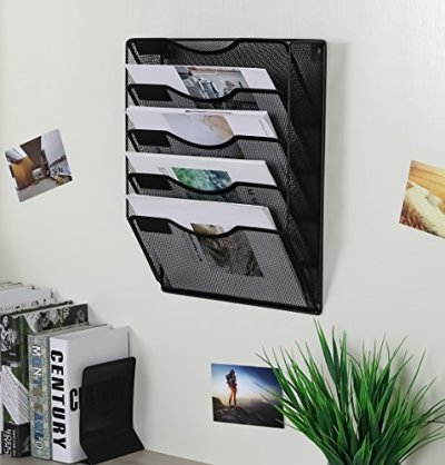 EasyPAG 5 Pockets Wall File Holder Organizer Hanging Magazine Rack