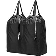 HOMEST 2 Pack Travel Laundry Bag with Handles, Square Base Can Carry Up to 3 Loads of Clothes, Machine Washable Dirty Clothes Storage with Drawstring Closure, Black