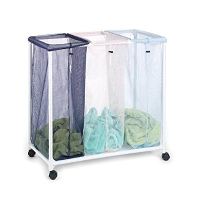"""Homz Triple Clothing Sorter with Wheels, 3 Removable Bags, 31"""" x 16"""" x 30.5"""" (4549010)"""
