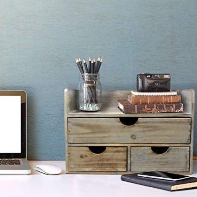 Vintage Rustic Wooden Office Desk Organizer & Mail Rack for Desktop
