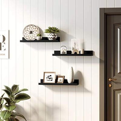 SONGMICS Wall Shelves Set of 3, Floating Shelves Ledge 15-Inch Long