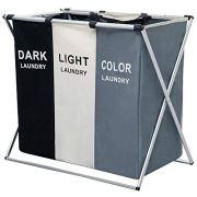 "AosKe 3-Section Laundry Basket or Dirty Laundry sorter Made of Oxford Waterproof Bag and Aluminum Frame (24.5"" X 15"" X 23"") Foldable & Detachable."
