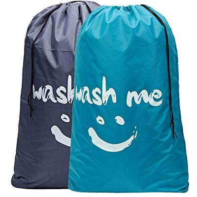 HOMEST 2 Pack XL Wash Me Travel Laundry Bag, Machine Washable Dirty Clothes Organizer, Large Enough to Hold 4 Loads of Laundry, Easy Fit a Laundry Hamper or Basket, Light Blue and Grey
