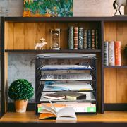 Samstar Paper Letter Tray, Mesh Desk File Organizer with 5 Tier Shelf and Sorter