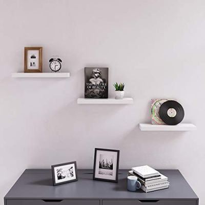 SONGMICS Floating Wall Shelf 15.7 inch, Easy Install for Decorative Display Corner