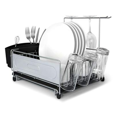 Dish Drying Rack, MNOPQ Multifunctional Rust Proof Kitchen Sink Counter Non-Slip Small Dish Rack Includes Wire Dish Drying Rack, Utensil Holder, Drainboard and Stemware Holder