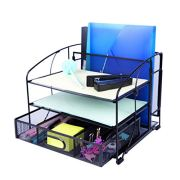 Exerz Mesh Desk Organizer Office Supplies 3 Trays/Desktop File Holder