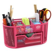 Mesh Desk Organizer Office Supply Caddy Drawer with Pen Holder Collection Pink