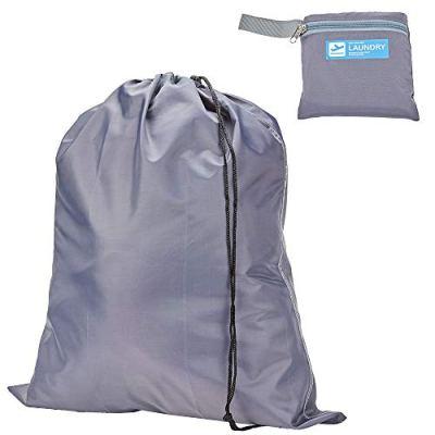 HOMEST Travel Nylon Laundry Bag Washable with Drawsting, Foldable Small Size