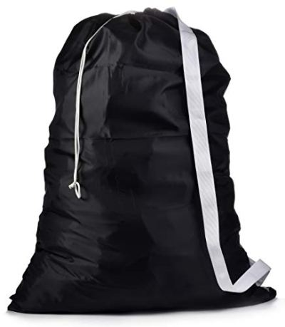"""Shoulder Strap Laundry Bag - Drawstring Locking Closure, Durable Nylon Material, Large Capacity, Heavy Duty Stitching, Hands Free Carrying, Perfect for Laundromat or College Dorm. (Black   30"""" x 40"""")"""