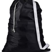 """Shoulder Strap Laundry Bag - Drawstring Locking Closure, Durable Nylon Material, Large Capacity, Heavy Duty Stitching, Hands Free Carrying, Perfect for Laundromat or College Dorm. (Black 