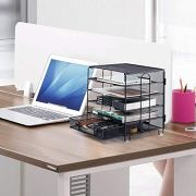 KEEGH 5 Trays Desk Document File Tray Organizer with Supplies Sliding Drawer