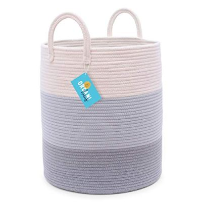 "OrganiHaus Cotton Rope Basket in Grey | 15""x18"" Grey Storage Basket with Long Handles 