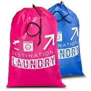 Travel Laundry Bag Red and Blue 2 Pcs, Large Heavy Duty Washable Dirty Clothes