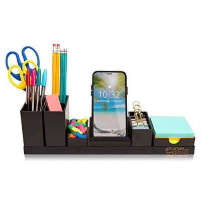 Desk Organizer with Adjustable Pen Holder, Pencil Cup, Phone Stand