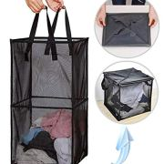 JSXD Mesh Laundry Hamper, Pop-up Laundry Hamper with Durable Handles,Portable Square Mesh Laundry Baskets for Kids Rooms and College Dorms,Collapsible for Storage (Black)