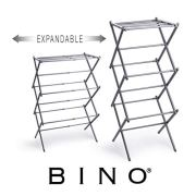 BINO 3-Tier Expandable Collapsing Foldable Laundry Drying Rack, Silver