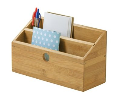 Lipper International Bamboo Wood 2-Slot Office Supply Desk Organizer