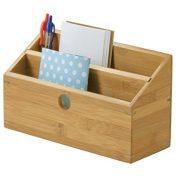 Lipper International Bamboo Wood 2-Slot Office Supply Desk Organizer